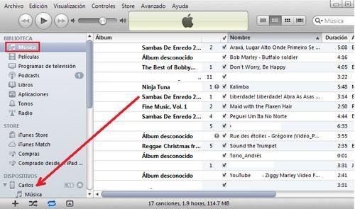 Como pasar Música al iPhone